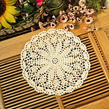 Hand Hook Flower Coaster 10CM Lace Flowers Wholesale Handmade Doily Crocheted Cup Mat Round Placemats
