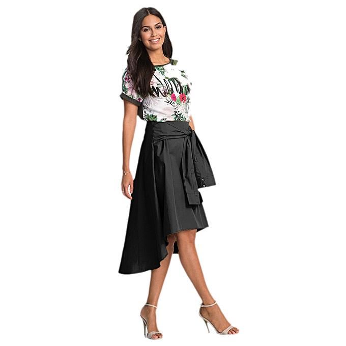4bfdf2ae16 jiahsyc store Women Flared Knee Length Skater Skirt Ladies Casual Mini  Office Work Skirt-Black ...