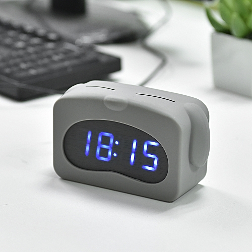 Generic Mini Led Digital Alarm Clock Usb Battery Operated Time Date Temperature Display Sound Control With Adjule Luminance 3 Alarms Grey