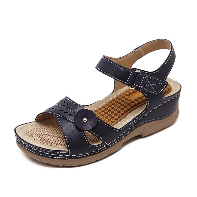 7520cbb97652 Rifined Women Sandals Vintage Ladies Flat Sandals Solid Color Flower Design  Flip Flop Female Casual Sandals