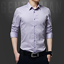 Luxury Cotton Slim Fit Office Formal Shirts Men Business Wedding Shirts (Voilet)