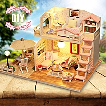 2PCS Handcraft DIY Doll House Time Cafe Toy Wooden Miniature Furniture LED Light Gift