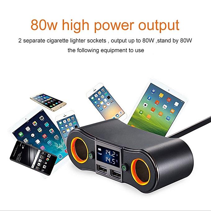 ... CO 12V DC Car Cigarette Lighter Adapter 2 Way Double Plug Socket Charger Splitter-black ...