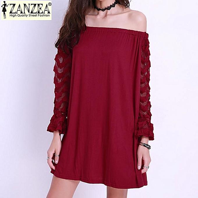 06e79306b9ea ZANZEA ZANZEA Plus Size S-4XL Womens Sexy Lace Off Shoulder Long Sleeve Top  Short Mini Dress (Wine Red)