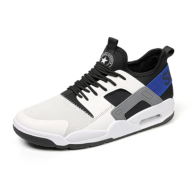 a1de453aef83 Men Air Max Patchwork Running Shoes Breathable Training Basketball Leather  Sneakers White