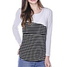Women Maternity Stripe Breastfeeding Tops - White