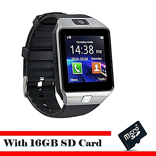 Bluetooth Smartwatch DZ09 Smart Watch Mobile Phone Sim Card For Android/IOS  With Memory SD Card 16GB (Silver)