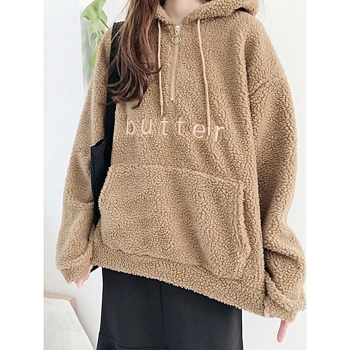 ff5f1f9d6a1 Fashion Fleece Solid Color Alphabet Long Sleeve Hoodies Sweatshirts ...