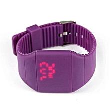 Waterproof Mens Womens Digital LED Touch Sports Silicone Bracelet Wrist Watch(Purple)