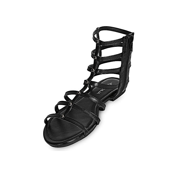 3b7b825101637 Sexy Ladies Flat Gladiator Sandals With Hollow Out Side Zipper-BLACK ...