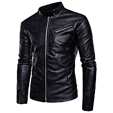 Stand Collar Faux Leather PU Jacket for Men