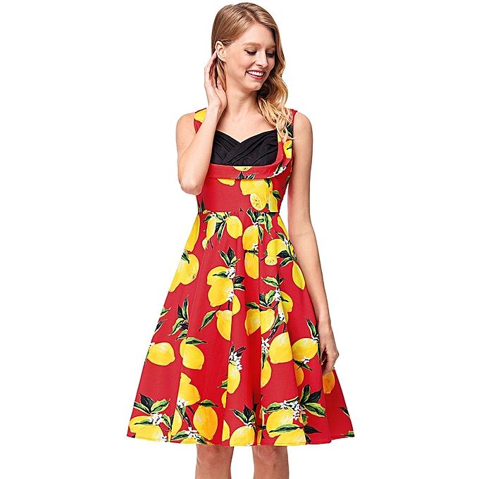 0e4887e7ff2 Generic Women s Hepburn Dress Female Casual Dresses Tube Top Print ...