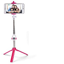 Selfie Booth Bluetooth Selfie Stick With Tripod Stand - Pink