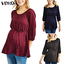 New Pregnant Women Maternirty Blouse Shirt Short Sleeve Reched Loose Casual Tops