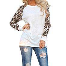Female New Fashion Women's Long Sleeve Leopard Chiffon Cotton Casual Long Tops Shirt Blouse-White
