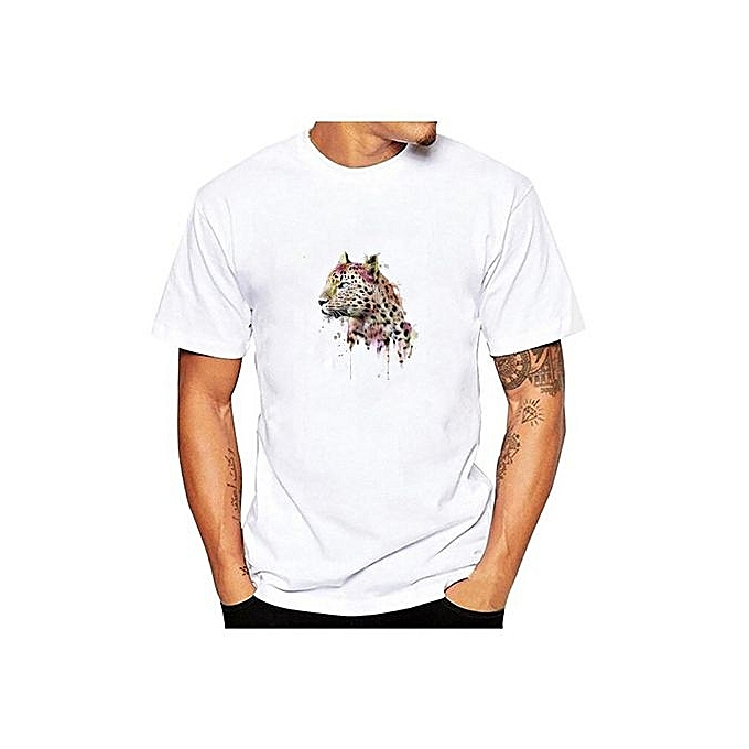 a2ff6a12c16 ... Shirt Casual Tops White Or Black · Men s Summer Short-sleeved Simple  Personality Fashion Cheetah Look Back Pattern Printing Round Neck T