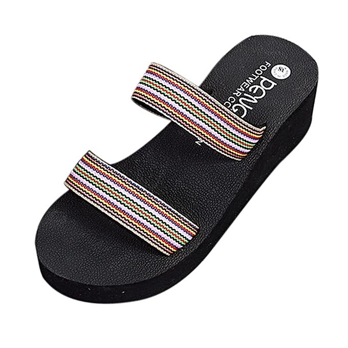 216d42d46f3344 ... Generic Summer Bohemia Beach Platform Bath Slippers Wedge Slope Slippers  Women Shoes A1 ...