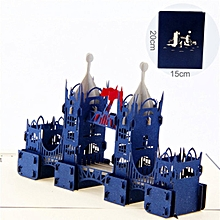 London Bridge 3D Birthday Card Pop Up Hollow Carved Cards For UK Travellers blue