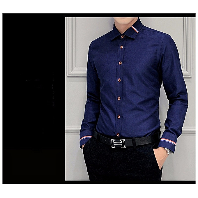383819326b8 2018 New Men Dress Shirts Brand Clothing Fashion Camisa Social Casual Men  Shirt Slim Fit Long