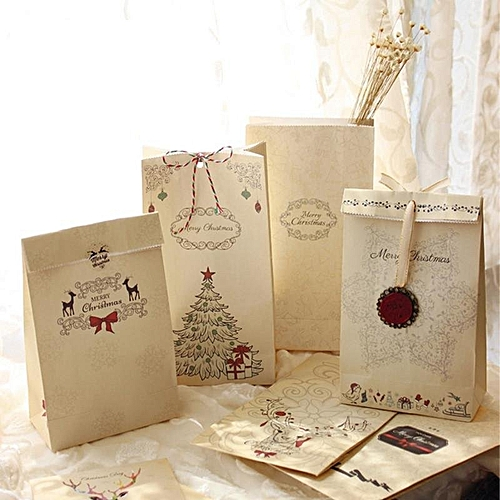 Universal Merry Christmas Kraft Paper Bag Gift Bags Party Lolly