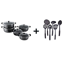 10 Pc Non Stick Cooking Pots with 6 Non-Stick Cooking Spoons