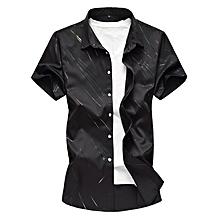 Print Men Shirts Short Sleeve Slim Shirts (Black)