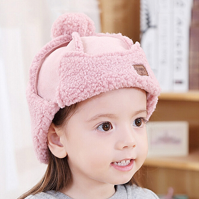 21e1cb39861 Cute Winter Warm Children Baby Girls Boy Infant Toddler Earflap Hat Soft Hat  Cap-Pink
