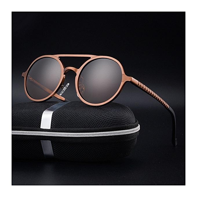 5f3384a6bc1 New men s polarized sunglasses retro round frame fashion sunglasses-rose  gold