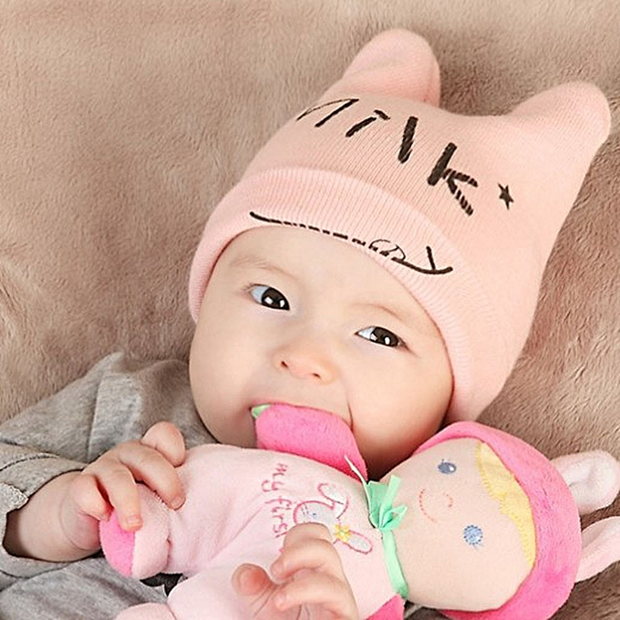 27f03d7ad99 ... jiuhap store Baby Boys Girls Beanie Letter Cap Cotton Hat Children  Print Knitting Hats - Pink