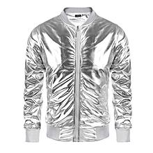 Men Metallic Nightclub Style Zip Up Baseball Bomber Jacket-Silver
