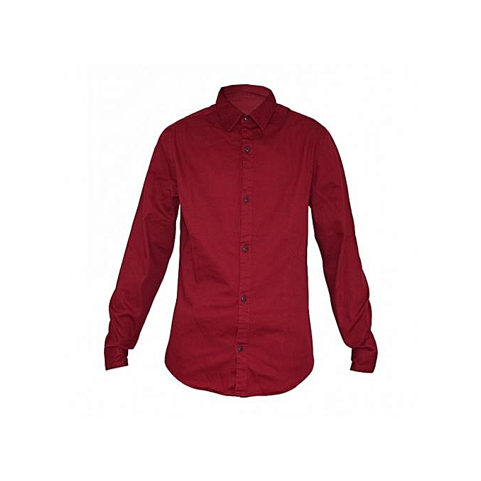 Maroon Mens Long Sleeved Slim Fit Shirt
