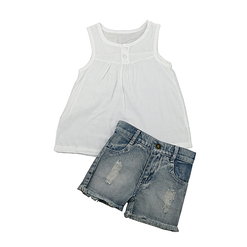 4a0876f1bacd7 MUYI 2pcs Kids Baby Girls Outfits Set Tank Top T-shirt Dress+Jeans Pants  Clothes 2-7Y