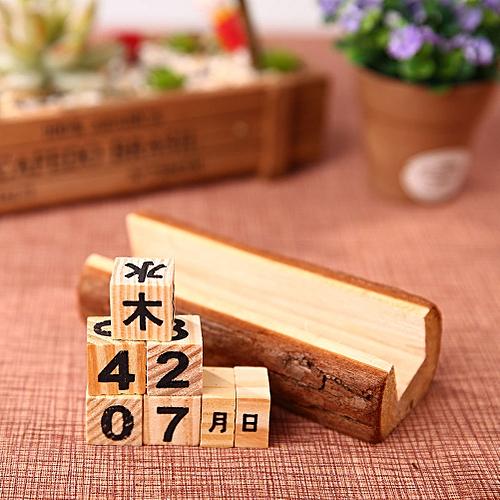 Burlywood Wooden Perpetual Calendar Kalendar Handmade Ornaments Crafts Gifts