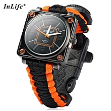 Inlife Outdoor Suvival Paracord Watch With Fire Starter Compass Whistle Rescue Bracelet-BLACK AND ORANGE
