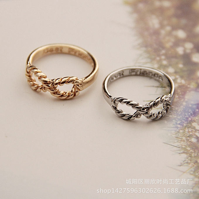 Qingdao European and American Foreign Trade Jewelry Manufacturers Wholesale  New Simple Fashion Twist Lucky Number 8 Female Ring Rings