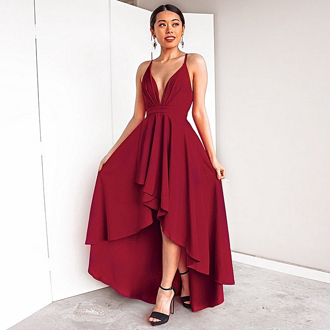 Generic Women  s Summer V-Neck Sling Dress 70107657cf
