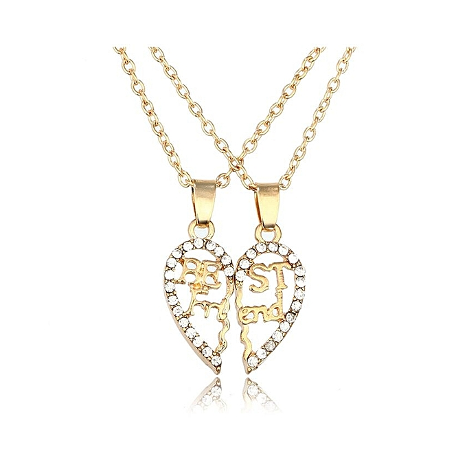 Anniversary sales buy generic 2 parts best friends hollow splice 2 parts best friends hollow splice heart pendant necklace set golden with rhinestone lobster mozeypictures Choice Image