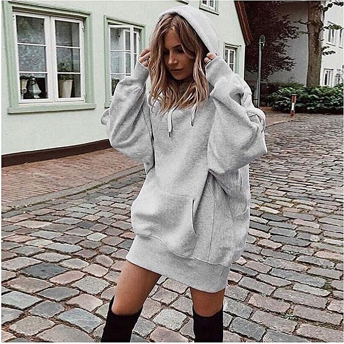 7f7f6a8cb39 Autumn Womens Oversized Hoodie Long Sleeve Mini Jumper Dress Sweater  Sweatshirt ...