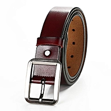 3.7 * 120cm Men Pin Buckle Simple All-match Leather Belt Commercial & Leisure Cowhide Waistband For Adults Color:A Coffee