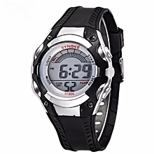Unisex Sports Waterproof Outdoor Silicone Band LED Backlight Electronic Digital Swimming Wrist Watch(Black)