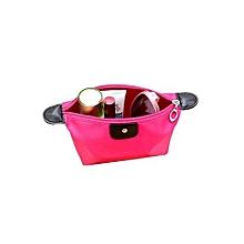 Waterproof Nylon Zip Cosmetic Bag #2 - Rose Red
