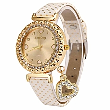 Women Love Heart Bracelet Leather Diamond Quartz Wrist Watch WH - White