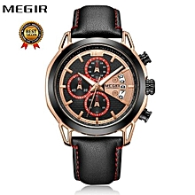 MEGIR Men Watch Top Luxury Brand Chronograph Mens Watches Military Sport Leather Band Quartz Male Clock Relogio Masculino 2071