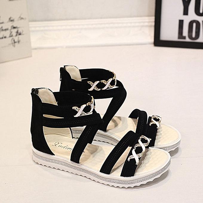 d020b15a4e8 ... Women Flat Shoes Summer Soft Leather Leisure Ladies Sandals Black 36 ...