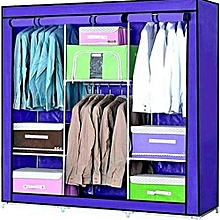 3 Column Portable Wardrobe Blue