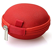 Colorful Portable Mini Round Ha Storage Case Bag for Earphone Headphone -Red