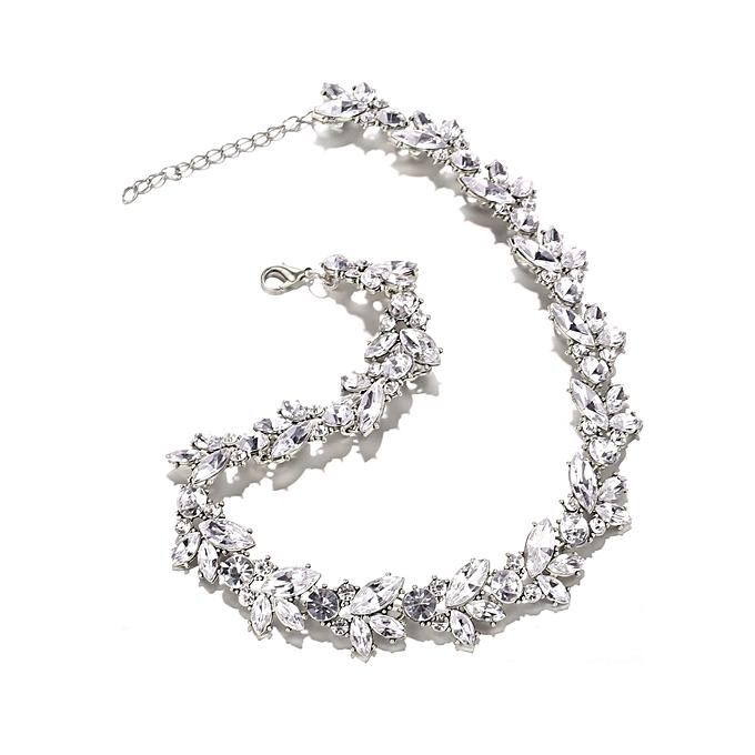 Buy Sunshine Women Bride Rhinestone Flower Statement Necklaces