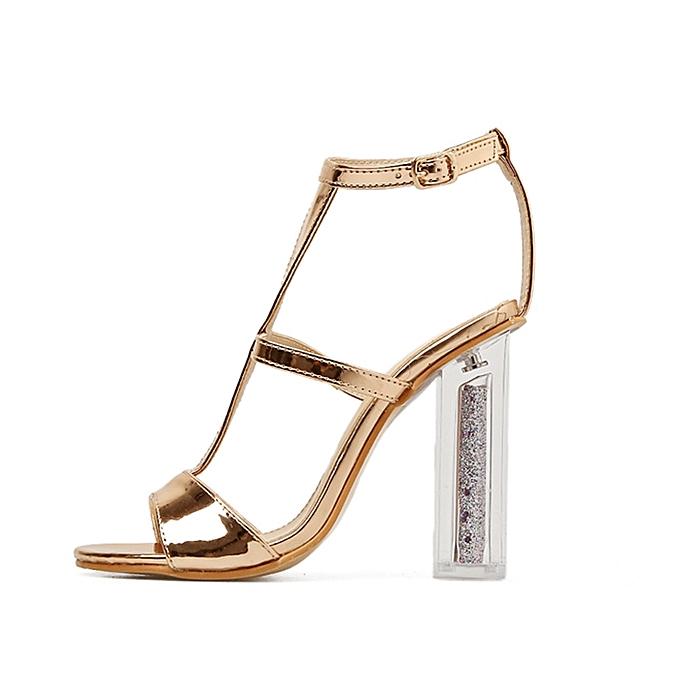 704607921b10 ... jiuhap store Women Sandals Buckle Simple Fashion High Heel Sandals Lady  Studded Heels-Gold ...