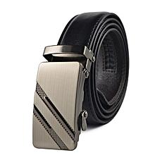Men's Belt PU Leather  Automatic Buckle Black