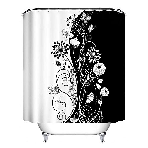 Generic Elegant Flowers Shower Curtain Hooks Bathroom Waterproof Mat Decor Fabric Set 150180cm Best Price